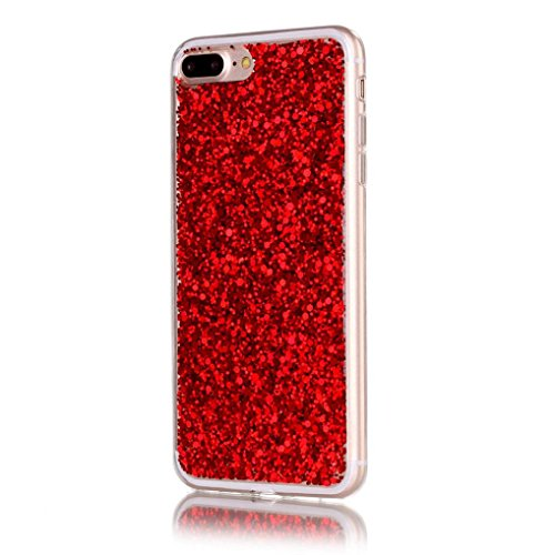 Ouneed® Hülle für iphone 7Plus 5.5 Zoll , Hot Silicone+PC High-quality Flash Soft Case Cover Skin For iPhone 7Plus 5.5 Zoll (5.5 Zoll, Silber) Rot