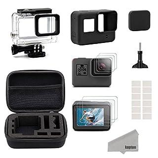 Kupton Zubehör für GoPro Hero7 Black/(2018) 6/5 Schwarz Reisetasche Small + Gehäuse Case + Displayschutzfolie + Objektivdeckel + Silikon Schutzhülle für Go Pro Hero7 Black/(2018)6/5 Outdoor Sport Kit