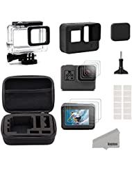 Kupton Accessory for GoPro Hero 6/5+ Small Black Travel Bag Case + Screen Protector + Lens Cap + Silicone Protective Case for the HERO6/5Outdoor Sport Kit