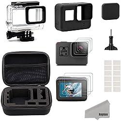 Kupton Accesorios Kit para GoPro Hero(2018) 6/5 Black, Kit de Deportes de Exterior, Kit de Iniciación: Estuche de Viaje Pequeño + Carcasa Case + Protector de Pantalla + Cubre Lente + Montura de Silicona para Go Pro Hero(2018)6/5