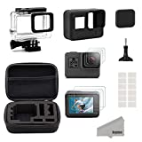 Kupton Zubeh�r f�r GoPro Hero(2018) 6/5 Schwarz Reisetasche Small + Geh�use Case + Displayschutzfolie + Objektivdeckel + Silikon Schutzh�lle f�r Go Pro Hero(2018)6/5 Outdoor Sport Kit Bild