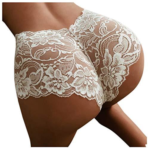 Dorical Damen Spitze Hohe Taille Hipster Panties G-String Basic Brief Slips Hüftslip Unterhose Unterwäsche Thongs Höschen verführerischen Spitzendetails Pantys S-XL Rabatt(Weiß,Large)