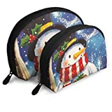 Portable Shell Makeup Storage Bags Let It Snow Snowman Travel Waterproof Toiletry Organizer Clutch...