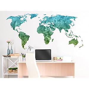 Pegatina de pared Salón Mapa del mundo Acuarela en verde Continentes para encolado tierras molido globo terráqueo naipe bordadoras es