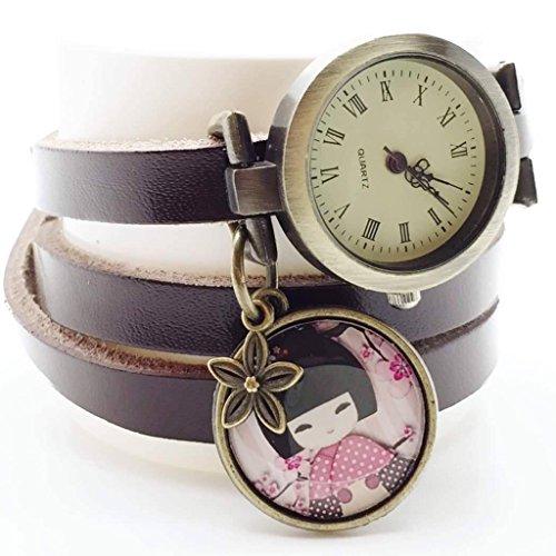 Reloj multidivisión de creación artesanal de cuero - marrón - Kokeshi, Japón - Regalo de Navidad para regalo mujer - San Valentín-