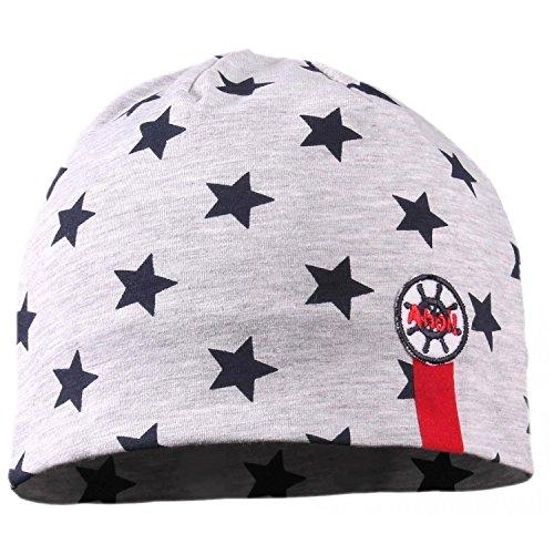 TupTam Jungen Beanie Mütze Baumwolle Sternenmuster Topfmütze, Farbe: Sterne Dunkelblau/Hellgrau Meliert, Größe: 6 - 12 Monate