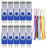 FEBNISCTE 10 Pack 2GB USB 2.0 Pen Drive Swivel Blue Data Storage