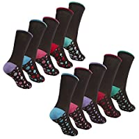 Cottonique Ladies Cotton Rich Socks with Coloured Toes & Heels 4-8 10 Pack Multi Heart Spot