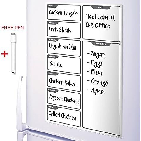 CKB Ltd - Tablero magnético para nevera (incluye marcadores, borrado en seco)