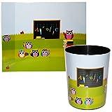2 TLG. Set: Schreibtischunterlage + Papierkorb - Eulen - 50 cm * 39 cm - Unterlage / Knetunterlage / Tischunterlage - für Jungen & Mädchen - Kinder / Eule Sch..