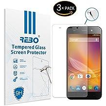 ZTE Blade V6 Protector cristal templado - RE3O® 3 x Protector de pantalla cristal templado vidrio templado para ZTE Blade V6 5,0'' pulgadas, Fácil de instalar y sin burbujas de aire, Borde redondo elegante 2,5D, Dureza 9H, Alta transparencia