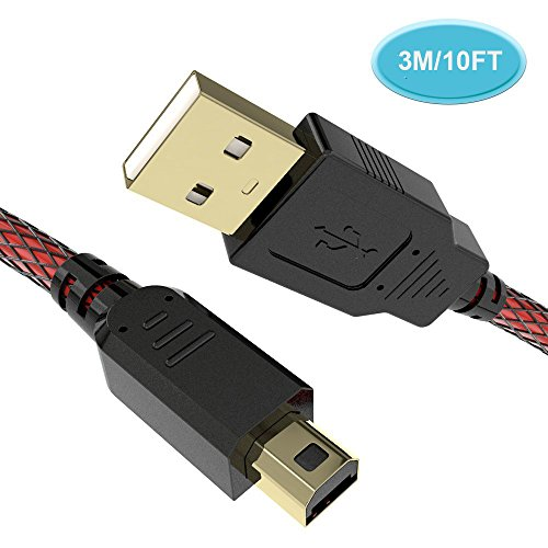 6amLifestyle 3M High Speed Premium USB Ladegerät, Ladekabel für Nintendo 2DS / 3DS / 3DS XL / DSi / DSi XL / NEU 2DSLL, Schwarz Rot