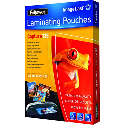 Fellowes Capture A5 125 Micron Glossy Laminating Pouches (Pack of 100)