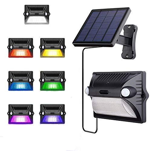 AREOUT Foco Solar Exterior con Separado Panel Solar,12 LED,Cabeza Doble Sensor de...