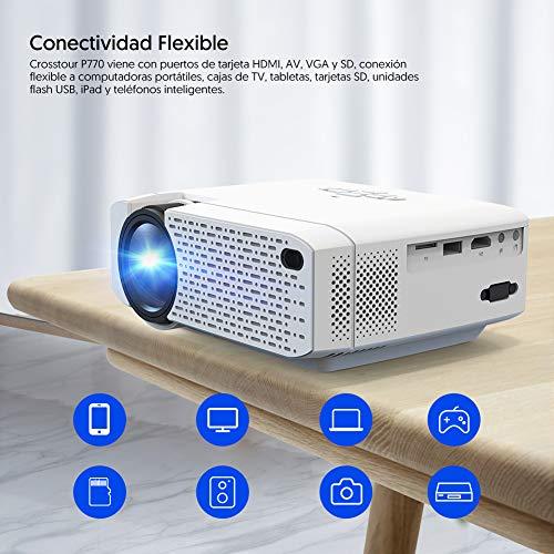 Crosstour Mini Proyector Portátil Full HD Soporte 1080P Vídeo Proyector Espejo de Pantalla vía Wi- Fi,  Compatible con HDMI/USB/Tarjeta SD/VGA/AV/TV Box/PS4