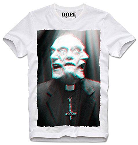 DOPEHOUSE T-Shirt Camiseta Priest REVERAND Horror Zombie Apocalypse Trippy LSD MDMA Hipster, XL