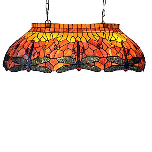Kemeng Dekorative Pendelleuchte, 33-Zoll-Tiffany-Stil Handgefertigte Glasmalerei Libellen Kronleuchter, Billard Hall Leuchten E27 X 4, 110-220V -