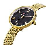 TREEWETO Damen Uhr Analog Quarz Edelstahl Milanaise Armband Ultra Dünn Gold