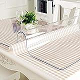 TIKNPOL Transparente PVC Nappe De Table,Imperméable Résistant à La Chaleur Facile Au Nettoyage Vinyle Rectangle Nappe Cuisine Salon-1.0mm épaisse-70x120cm(28x47inch)