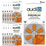 Audilo Apparecchio acustico Batteria 13 Batterie (PR48) per apparecchio acustico [Aria di Zinco] [Senza Mercurio] [1.45V] 10 schede di 6 Batteria di apparecchio acustico | Arancia Colore
