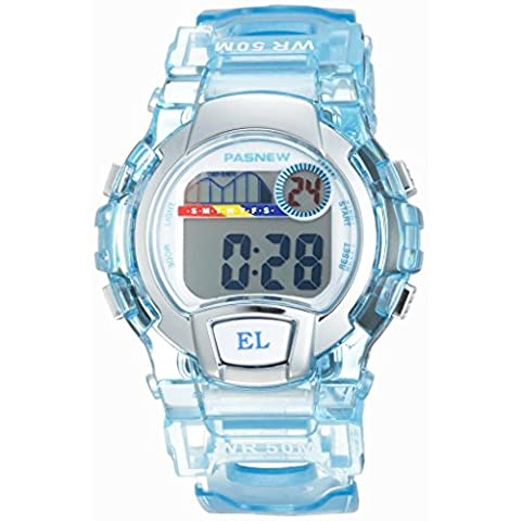 Pasnew Water Resistant Swimming Led Digital Sport Watch for Boys Girls (Light Blue)
