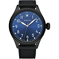 SONGDU Men Classic Analogue Display Quartz Watch With Silica Gel Strap and Luminous hands 9206-P46LY