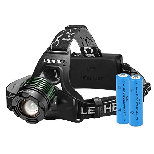 Linterna Frontal LED Cabeza con Batería 3000Lum 4 Modo de Luz hasta 300Mt y hasta 6 Horas Usar de Topop, Linterna Cabeza Alta Potencia para Camping, Pesca, Luz de Emergencia, Exterior e Interior