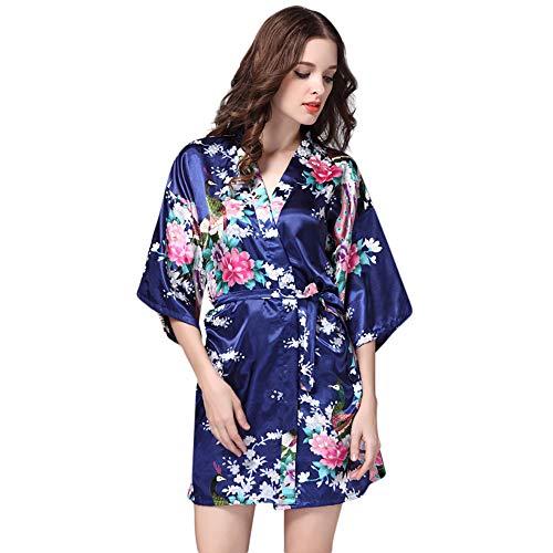 MERICAL Women Printed Nachtwäsche halbe Hülsen Nachtwäsche Satin Top Pyjama Bluse