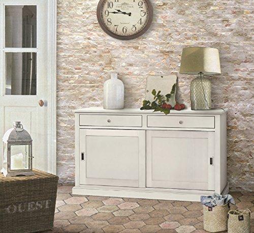 Inhouse srls credenza 2 porte, arte povera, in legno massello e mdf con rifinitura in bianco opaco- mis. 150x50x90h