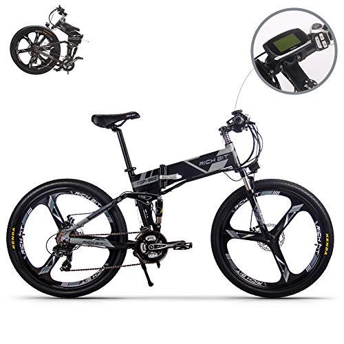 RICHBIT eBike RLH-860 Elektro-Fahrrad Klapp Mountainbike MTB E Bike 36V * 250W 12.8Ah Lithium - Eisen Batterie 26Zoll Magnesium Integriertes Rad (Grau)