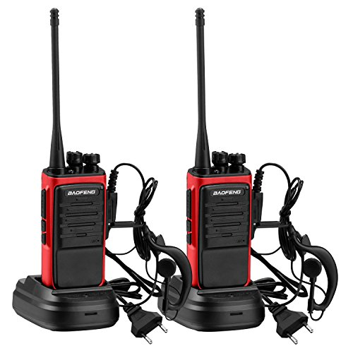 mymotto 400-470 MHz Walkie Talkie zwei Wege Radio + Hörer 1500mAh Batterie Funkgerät Sprechfunkgerät Handfunkgerät Portable Handheld Dual Band mit Headset 2 Stücke (Rot)
