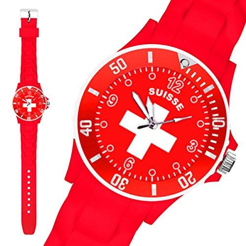 Taffstyle® Fanartikel Silikon Armbanduhr Gummi Trend Watch Quarz Fan Uhr mit Fussball Weltmeisterschaft WM & EM Europameisterschaft 2016 Länder Flaggen Style - Schweiz
