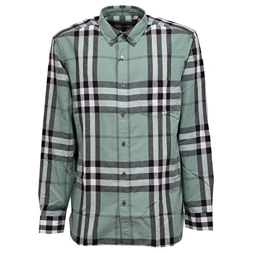 Burberry 0670w camicia uomo london england slate green shirt linen men [s]