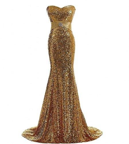 Milano Bride Einfach Pailletten Traegerlos Abendkleider Partykleider Brautjungfernkleider Bodenlang Meerjungfrau Rock-38-Gold