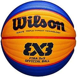 Wilson, Ballon de Basketball FIBA 3x3 Game Basketball, Taille: 6, Bleu/Jaune, Caoutchouc, pour Intérieur et extérieur, WTB0533XB