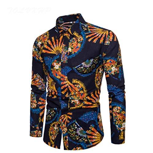 Shirt Flachs Kleid Hemden Slim Fit Turn Down Männer Langarm Herren Leinen Hawaiihemd 5XL Schwarz Asiatische Größe L