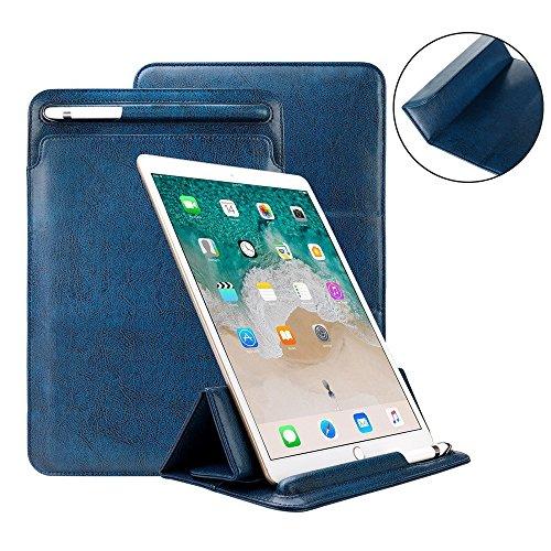 iPad Pro 12,9Fall Tastatur kompatibel, toovren Dreifach gefaltete Standabdeckung, mit Bleistift Halter Magnet Leder Sleeve, für Apple iPad Pro 12.9inch blau (Stift-halter Dreifach)