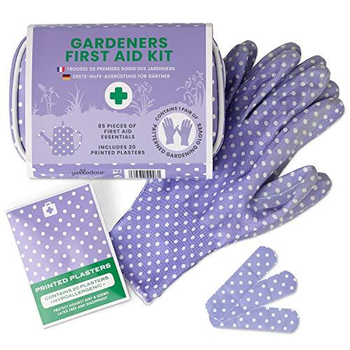 Yellodoor Mini-Erste-Hilfe-Set mit Schere, wasserdichte Pflaster, antiseptische Tücher, Bandage, 85 Stück Erste Hilfe Tasche für Reisen und Garten Inklusive Damen-Gartenhandschuhe Vegan (Purple) -