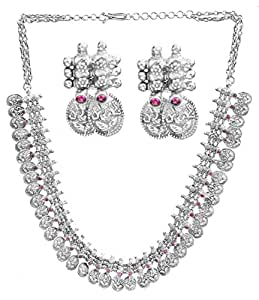 Exotic India Lord Ganesha Necklace with Matching Earrings Set (South Indian Temple Jewelry) - Sterli