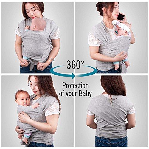 Babytragetuch, Babybauchtrage aus Baumwolle Innerhalb 15KG Atmungsaktiv Babybauchtrage Kindertragetuch Sling Baby Warp für Neugeborene,GRATIS 1x Baby-Lätzchen - 3