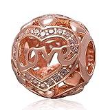 Sterling 925Or rose Amour Charm cœur Argenté Charm ajouré Charm Famille Charm anniversaire Charm pour bracelet à breloques Pandora