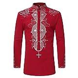 JYJM Langarmshirt Mantel Herren Langarm Top Bluse Herbst Winter Luxus afrikanischen Print Langarm Dashiki Shirt Slim Fit Rundhals Ausschnitt Herren Hemd Outwear Lässige Bluse