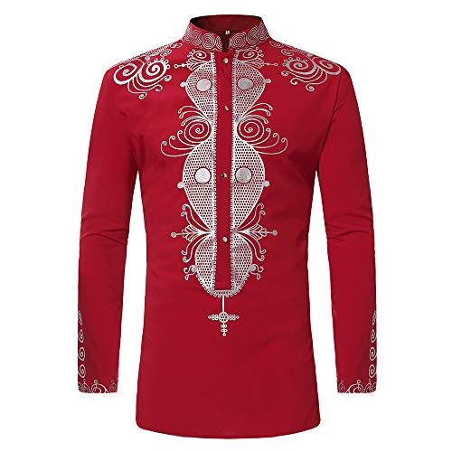 Herren Oberteile,TWBB Winter Luxus afrikanisch Gedruckt Pullover Mit Knopf Sweatshirt Lange Ärmel Shirt