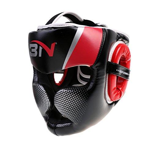 Gazechimp Abnehmbare Bar Kopfbedeckungen Boxen MMA Kopfschutz für Boxtraining oder -Kampf Boxen - Rot