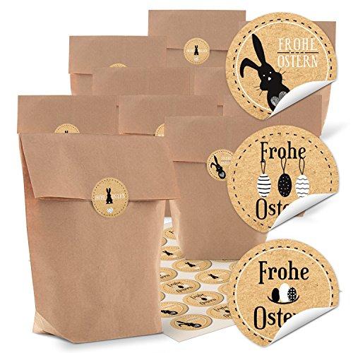 Preisvergleich Produktbild 24 braune Kreuzbodenbeutel (16,5 x 26 x 6,6 cm) und 24 runde Aufkleber 4 cm schwarz beige braun weiß Kraftpapier mit Frohe Ostern und Osterhase