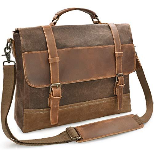Umhängetasche Herren Laptoptasche Aktentasche 15,6 Zoll Arbeit Taschen Wasserdichte Canvas Ledertasche Messenger Bag Notebooktasche Vintage Schultertaschen Braun
