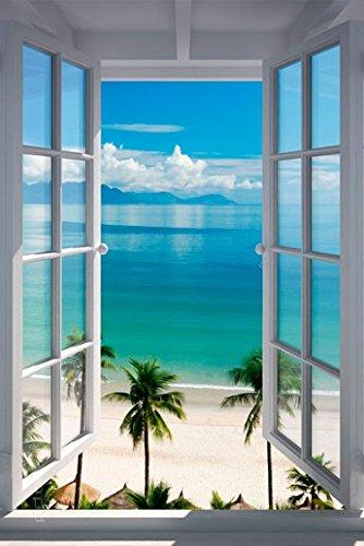 (Poster Fenster zum tropischen Palmenstrand - Größe 61 x 91,5 cm - Maxiposter)
