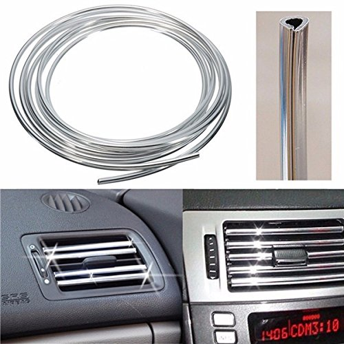 Forspero Silver Car Interior Decor Door Vent Chrome Moulding Trim Strip U Style 4M - Moulding Trim