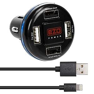 EZOPower Chargeur de voiture 4.8A avec 4 sorties USB + Cable de charger et de synchronisation des données 8 pin Lightning 0.9 mètres pour smartphone, ipod, et tablette Apple