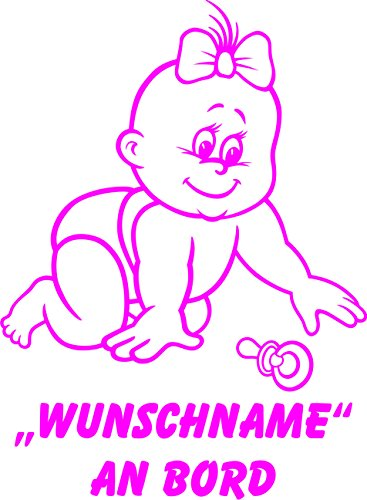 INDIGOS UG - Babyaufkleber / Kinderaufkleber 084 mit Wunschname / Wunschtext an Bord ca. 20 cm Höhe - Autoaufkleber in verschiedenen Farben